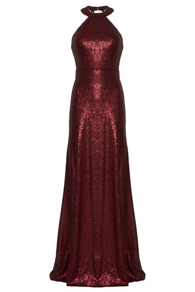 VC by Viola Chan - Şarap Rengi Halter Yaka Payet İşlemeli Uzun Abiye Elbise