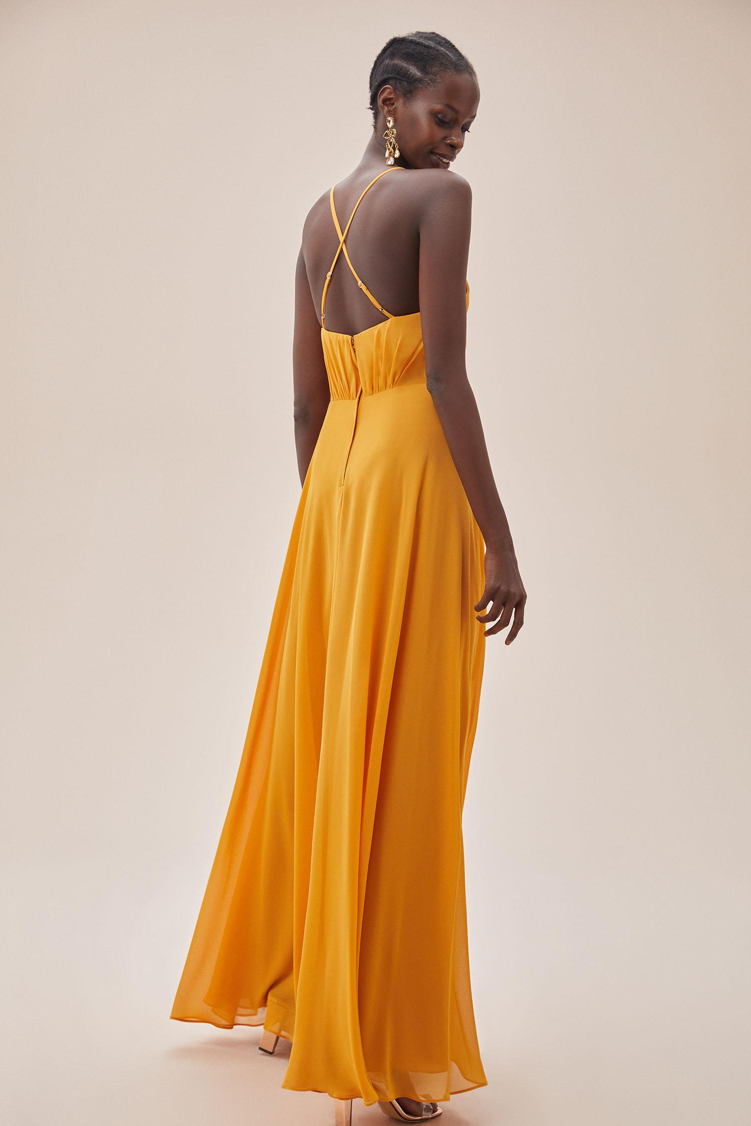 Hardal Rengi İnce Askılı Kruvaze Yaka Şifon Elbise - Thumbnail