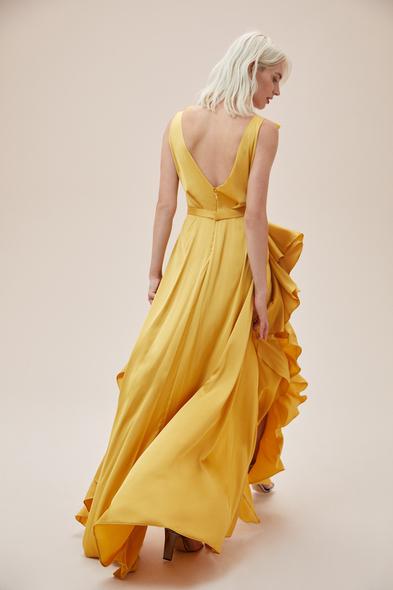 Alfa Beta - Hardal Rengi Kalın Askılı Fırfırlı Saten Uzun Elbise (1)