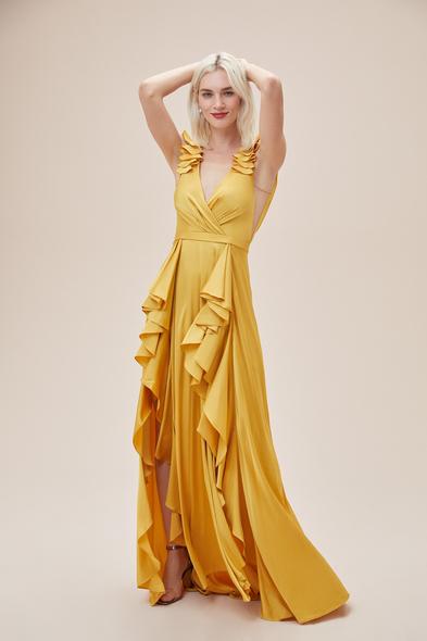 Alfa Beta - Hardal Rengi Kalın Askılı Fırfırlı Saten Uzun Elbise