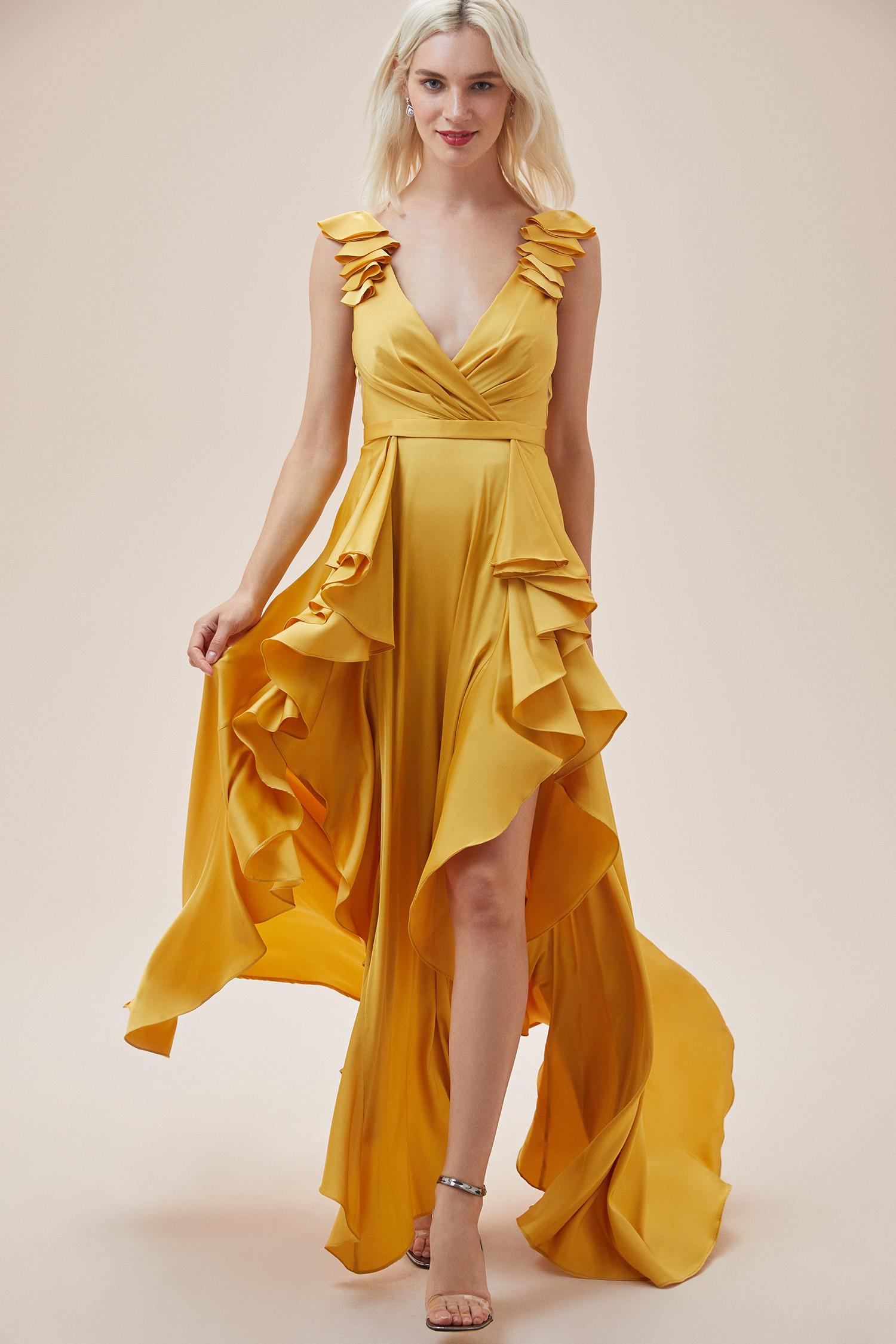 Hardal Rengi Kalın Askılı Fırfırlı Saten Uzun Elbise - Thumbnail