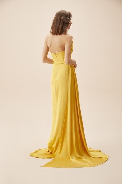 Alfa Beta - Hardal Rengi Straplez Yırtmaçlı Saten Uzun Abiye Elbise (1)
