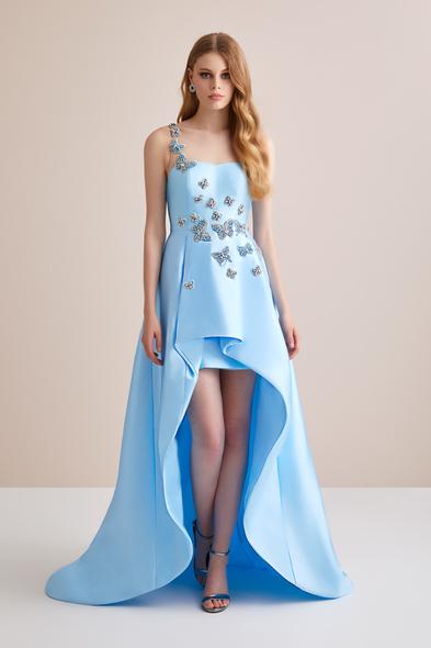 Viola Chan - İlüzyon Yaka Önü Kısa Mavi Saten Abiye Elbise