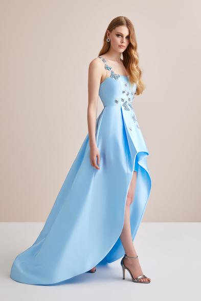 Viola Chan - İlüzyon Yaka Önü Kısa Arkası Taş Kelebek İşlemeli Abiye Elbise (1)