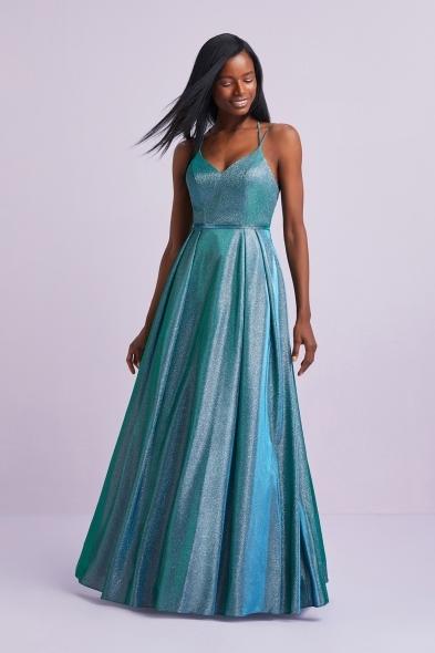 Viola Chan - Işıltılı Mavi İnce Askılı Mikado Uzun Abiye Elbise