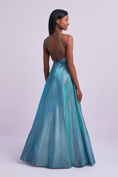 Viola Chan - Işıltılı Mavi İnce Askılı Mikado Uzun Abiye Elbise (1)