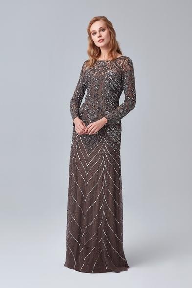 Kahverengi Uzun Kollu Payetli Uzun Abiye Elbise