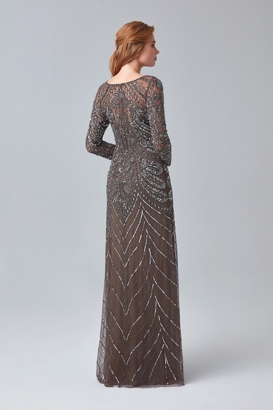 - Kahverengi Uzun Kollu Payetli Uzun Abiye Elbise - Oleg Cassini