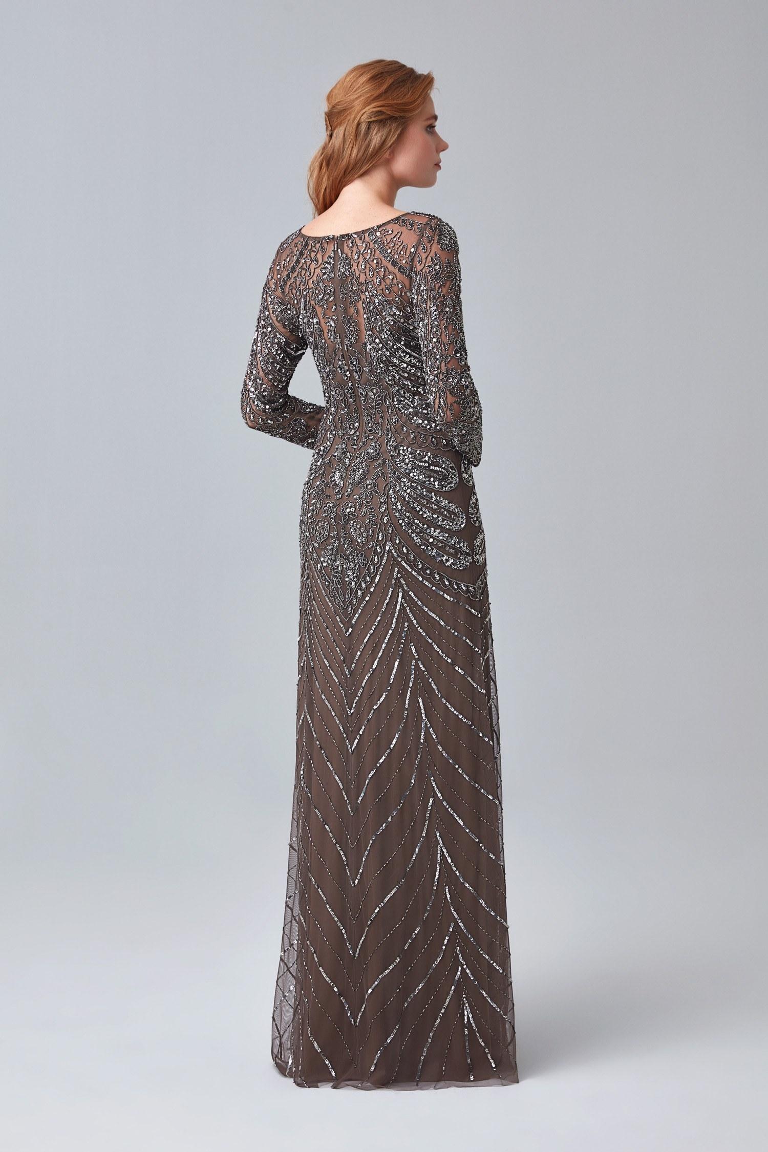 Kahverengi Uzun Kol Payetli Uzun Abiye Elbise - Thumbnail