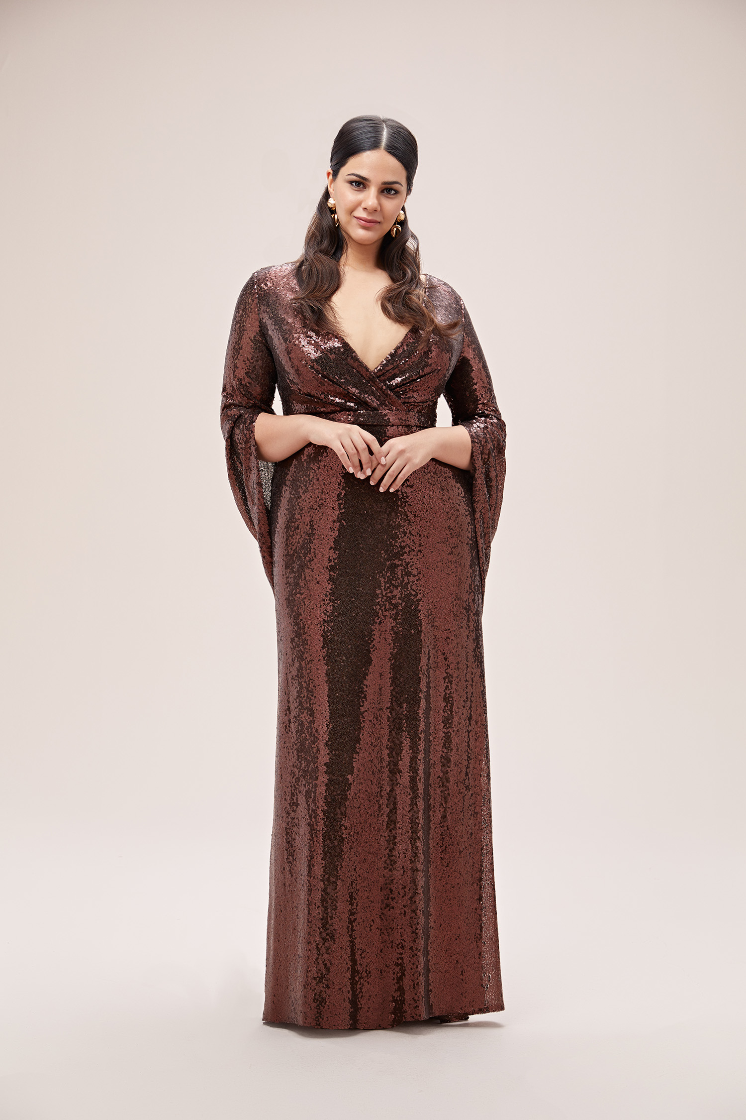 Kahverengi Kruvaze Yaka Pullu Uzun Büyük Beden Abiye - Thumbnail