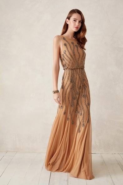 Oleg Cassini - Karamel Rengi Kolsuz Payetli Uzun Abiye Elbise