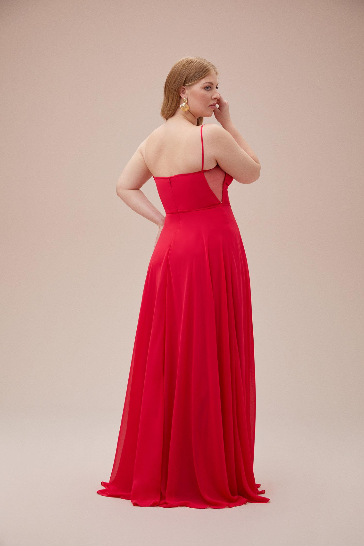 Kardinal Rengi İnce Askılı Şifon Uzun Büyük Beden Elbise - Thumbnail