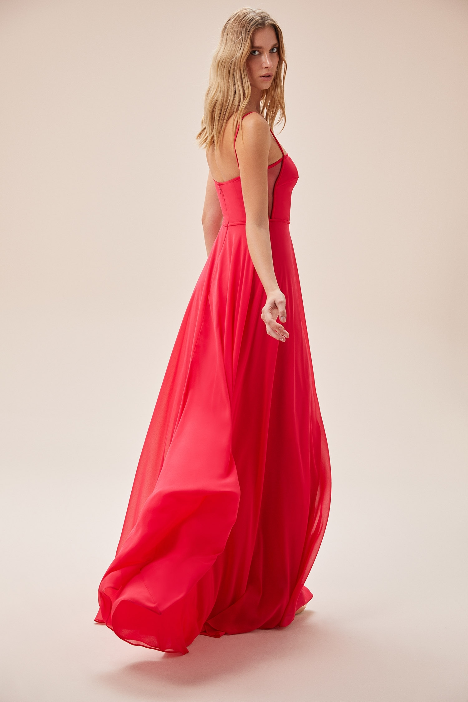 Kardinal Rengi İnce Askılı Şifon Uzun Elbise - Thumbnail