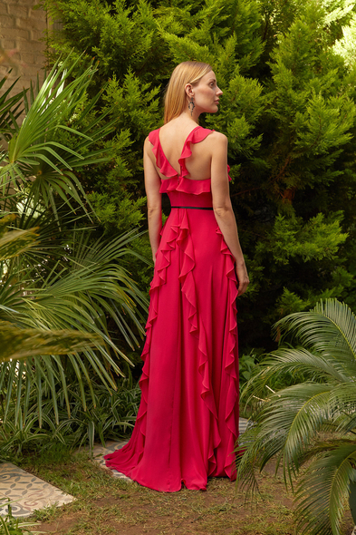 Viola Chan - Kardinal Rengi Yüzücü Yaka Fırfırlı Şifon Uzun Abiye (1)
