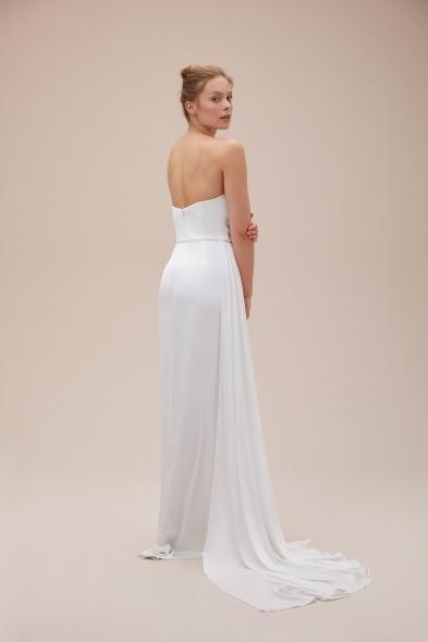Alfa Beta - Kemik Rengi Straplez Yırtmaçlı Saten Uzun Abiye Elbise (1)
