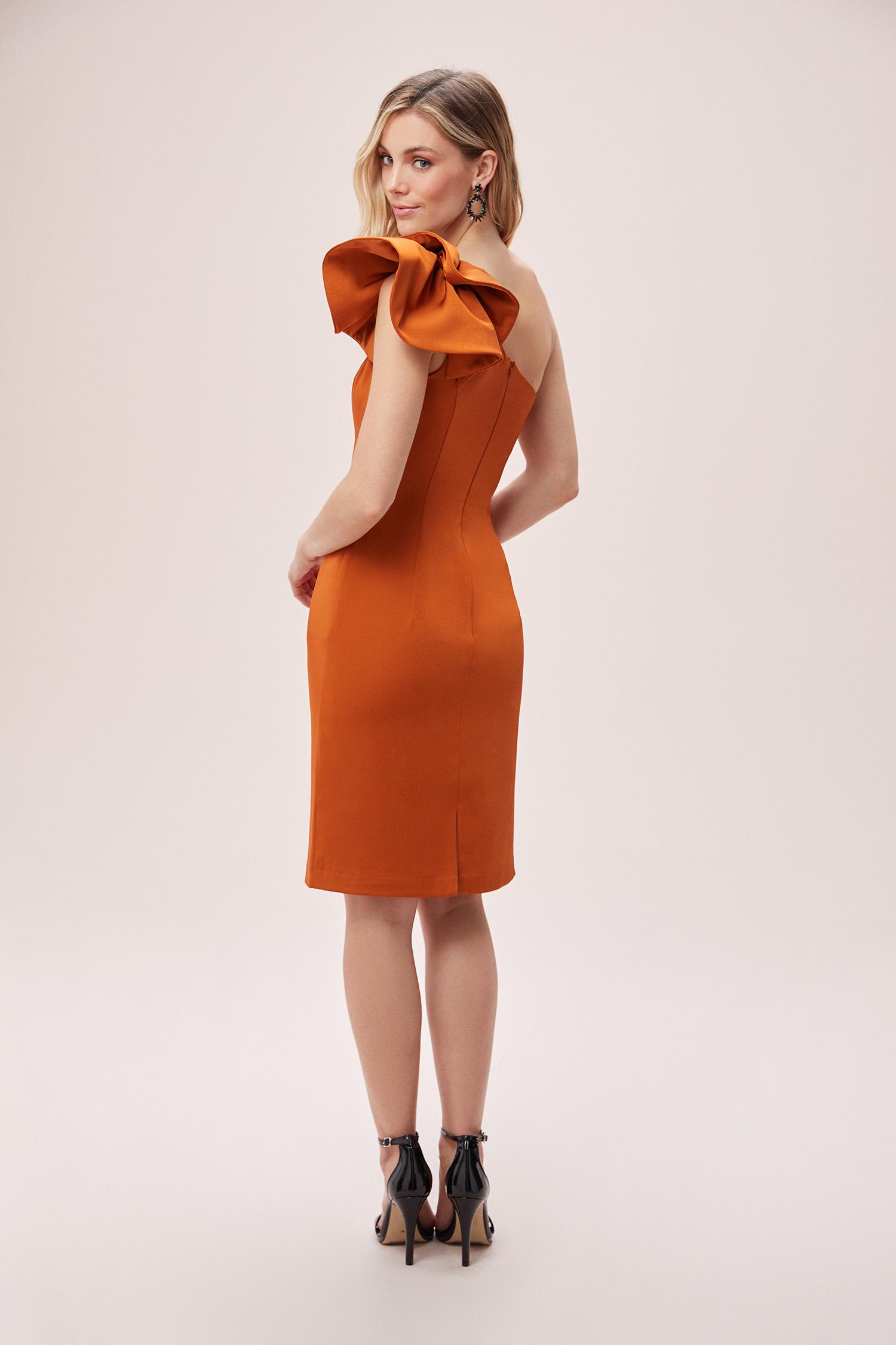 Kiremit Rengi Tek Omuzlu Saten Kısa Elbise - Thumbnail