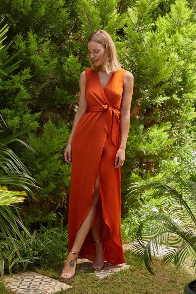 OLEG CASSINI TR - Kiremit Rengi V Yaka Kolsuz Kruvaze Uzun Elbise