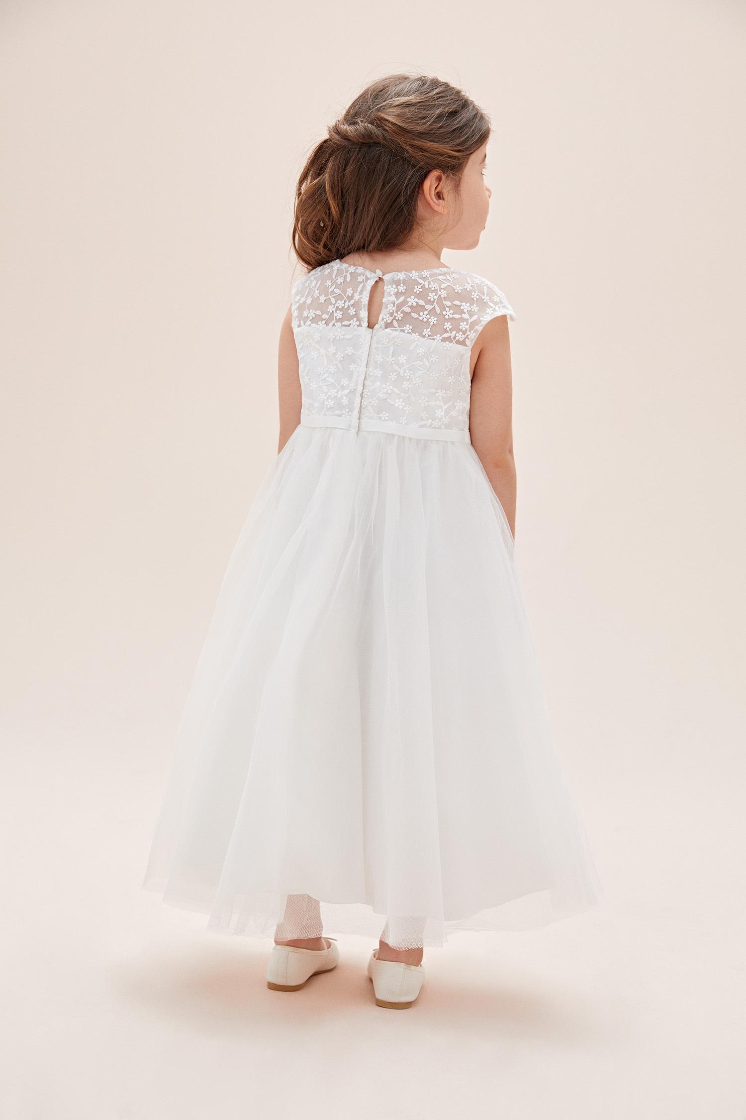 Kırık Beyaz Askılı Tül Çocuk Elbisesi - Thumbnail