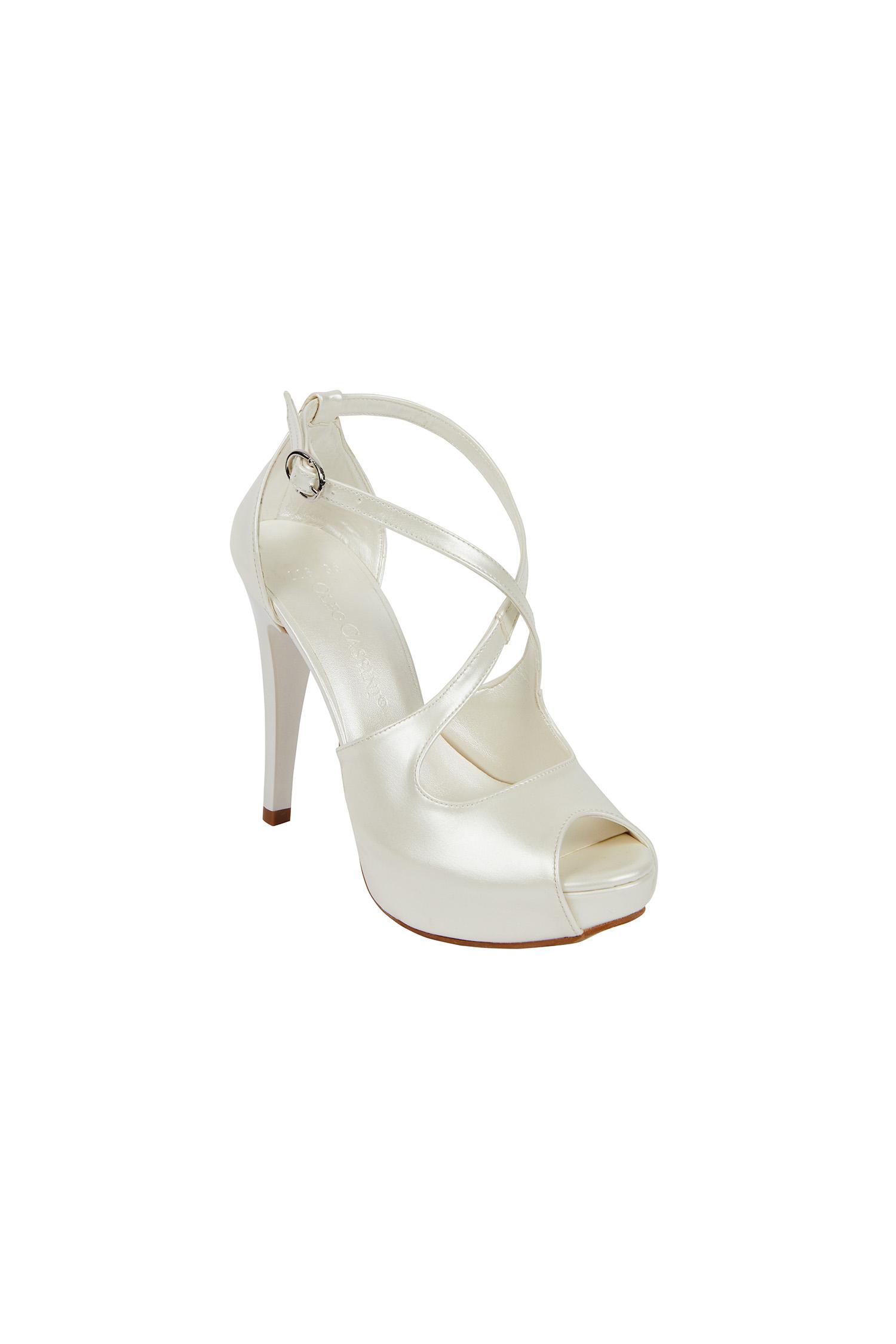 Kırık Beyaz Bantlı Yüksek Topuklu Gelin Ayakkabısı