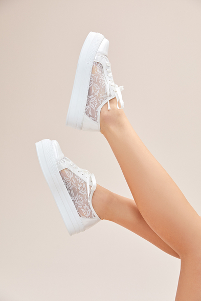 OLEG CASSINI TR - Kırık Beyaz Dantelli Yüksek Taban Gelin Spor Ayakkabı