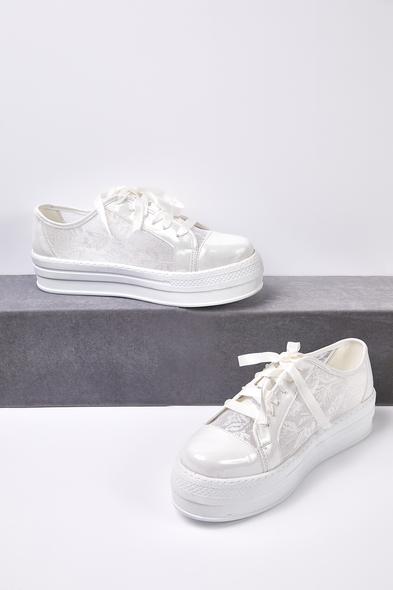 66 - Kırık Beyaz Dantelli Yüksek Taban Gelin Spor Ayakkabı (1)