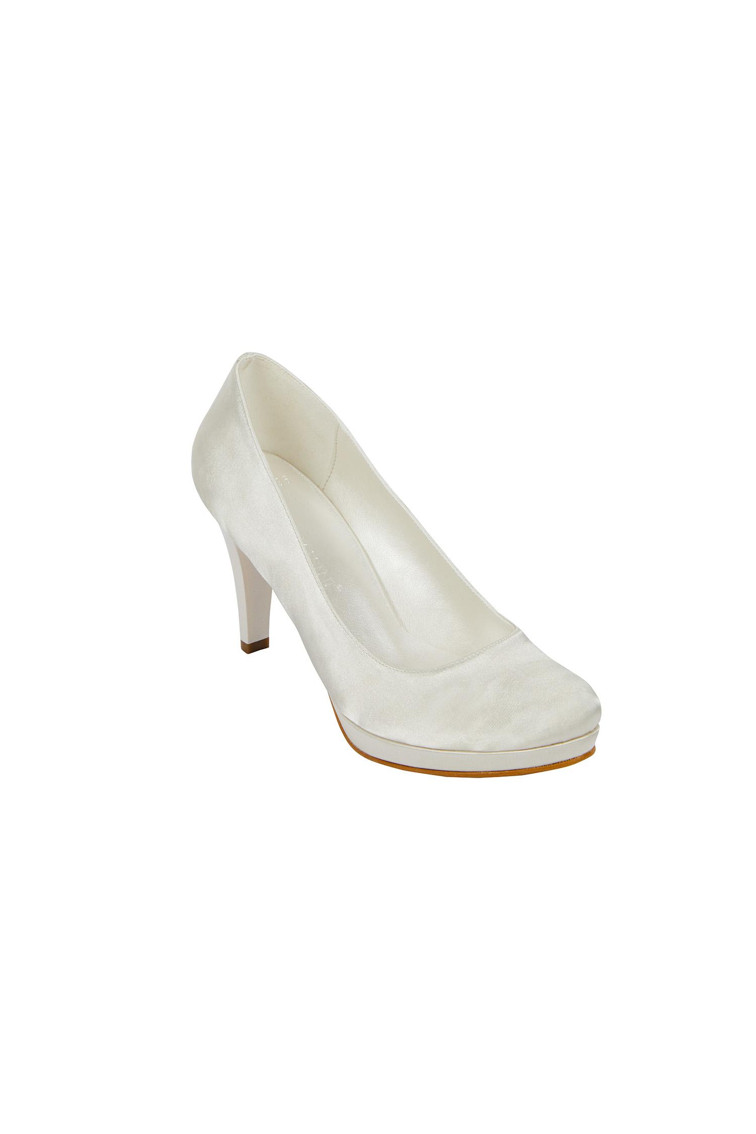 Kırık Beyaz Orta Topuklu Gelin Ayakkabısı