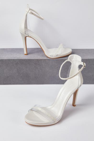 OLEG CASSINI TR - Kırık Beyaz Şeffaf Bantlı Topuklu Gelin Ayakkabısı
