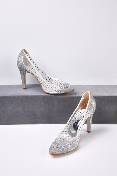 OLEG CASSINI TR - Kırık Beyaz Taş İşlemeli Topuklu Gelin Ayakkabısı