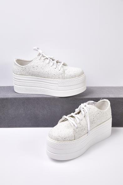 OLEG CASSINI TR - Kırık Beyaz Taşlı Yüksek Taban Gelin Spor Ayakkabı (1)