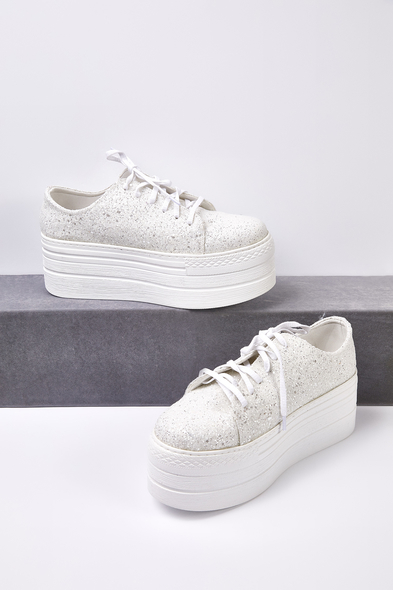 66 - Kırık Beyaz Taşlı Yüksek Taban Gelin Spor Ayakkabı (1)