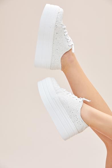 66 - Kırık Beyaz Taşlı Yüksek Taban Gelin Spor Ayakkabı