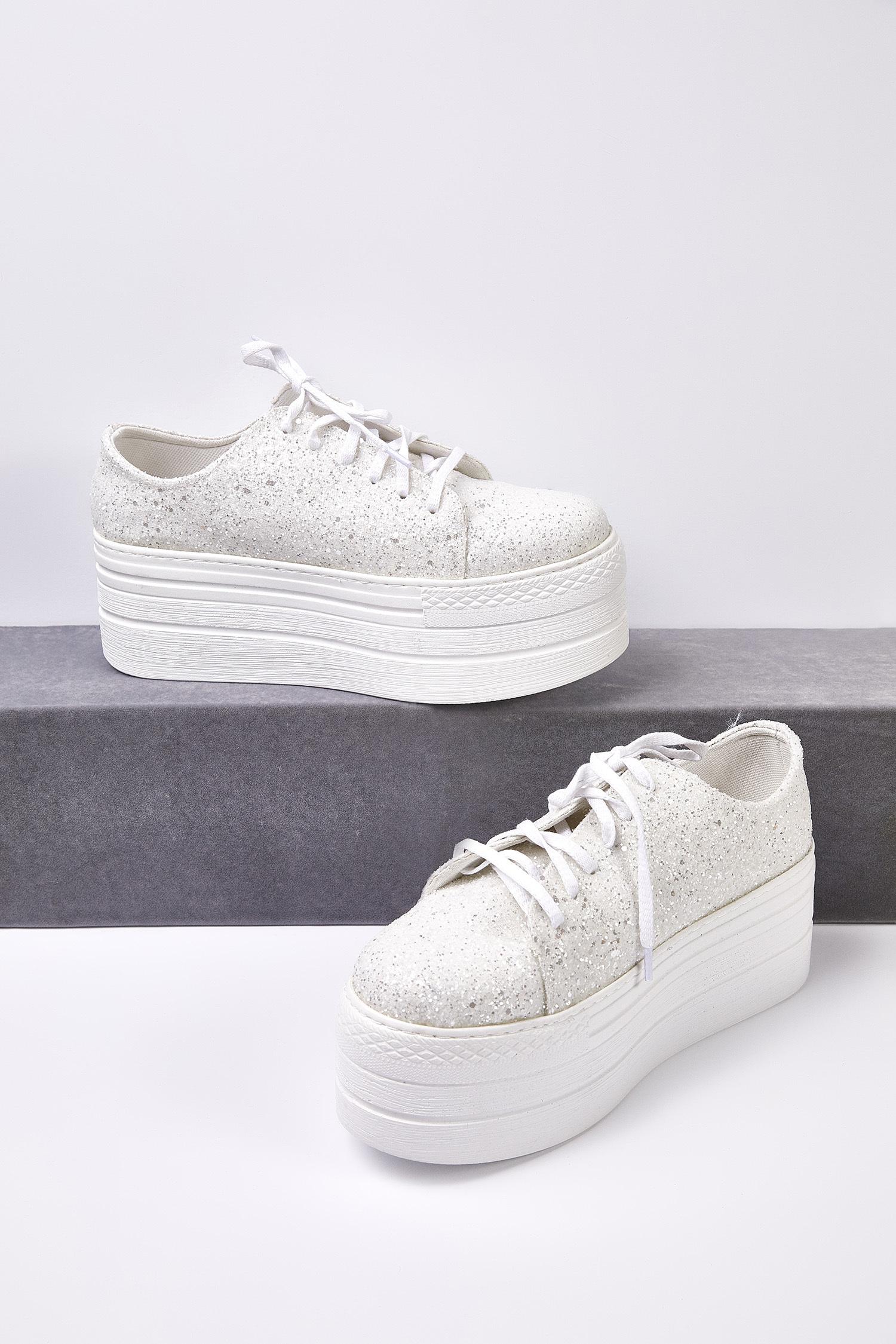 Kırık Beyaz Taşlı Yüksek Taban Gelin Spor Ayakkabı - Thumbnail