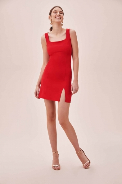 OLEG CASSINI TR - Kırmızı Askılı Kare Yaka Mini Krep Elbise (1)