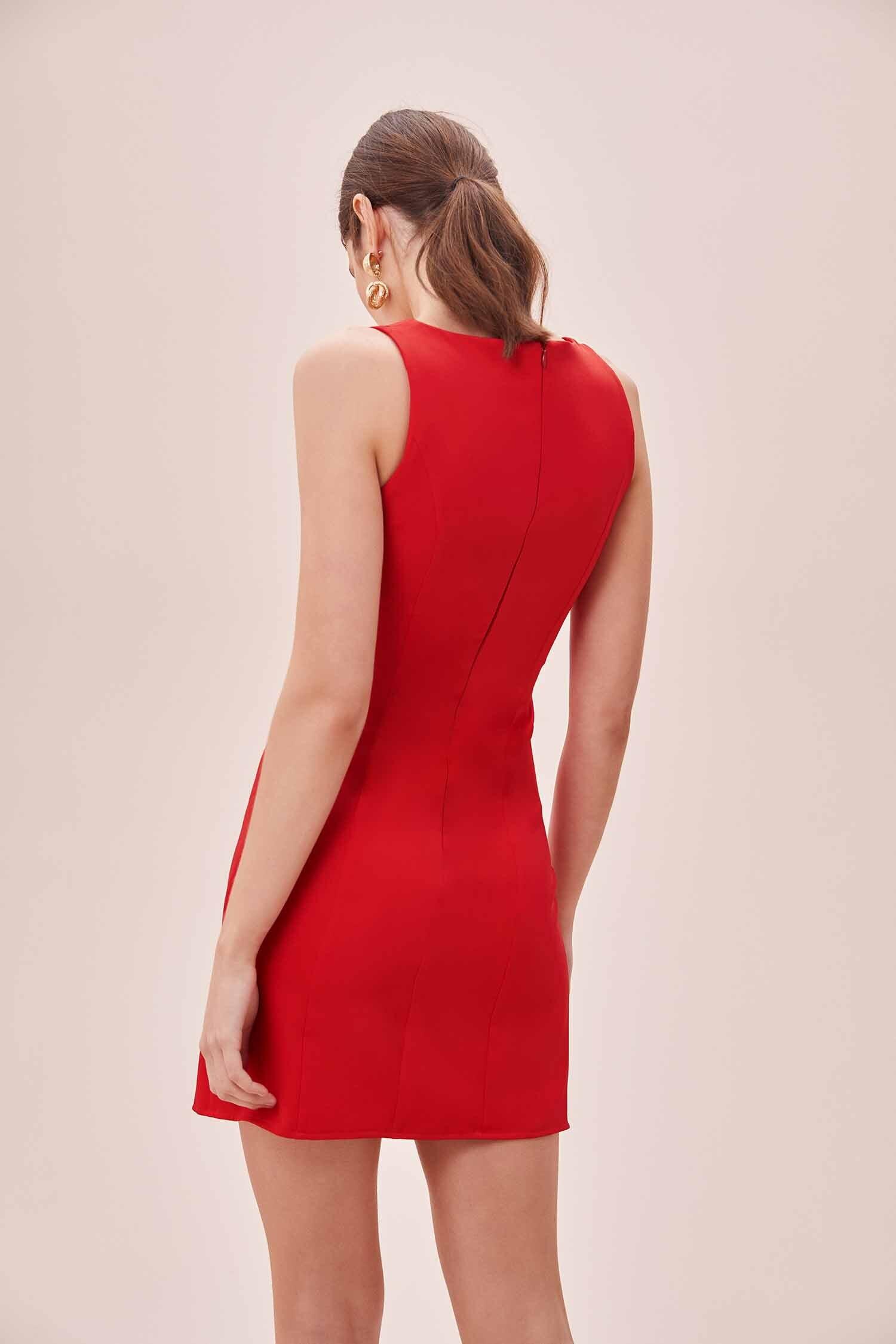 Kırmızı Askılı Kare Yaka Mini Krep Elbise - Thumbnail
