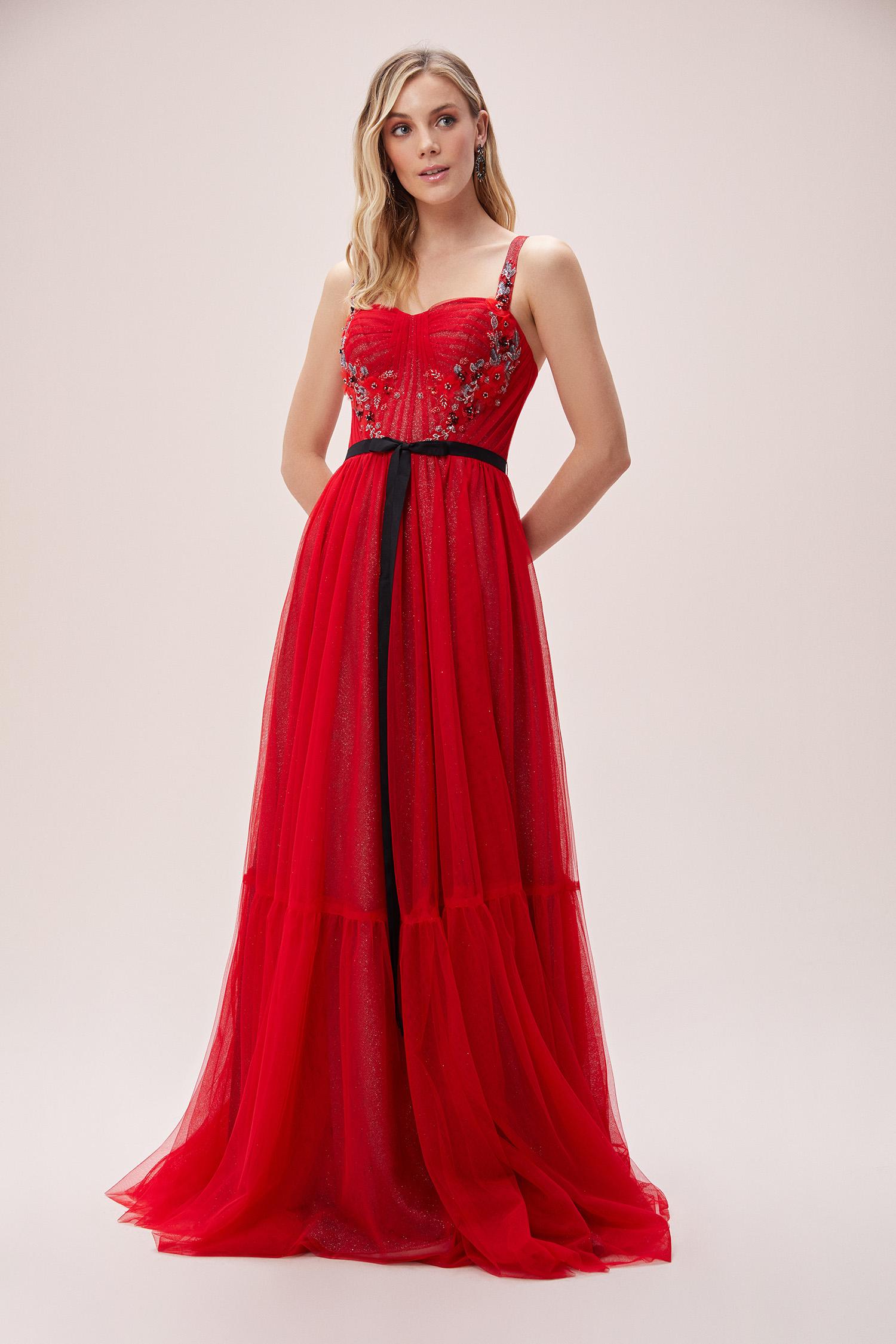 Kırmızı Askılı Payet İşlemeli Tül Etekli Abiye Elbise - Thumbnail