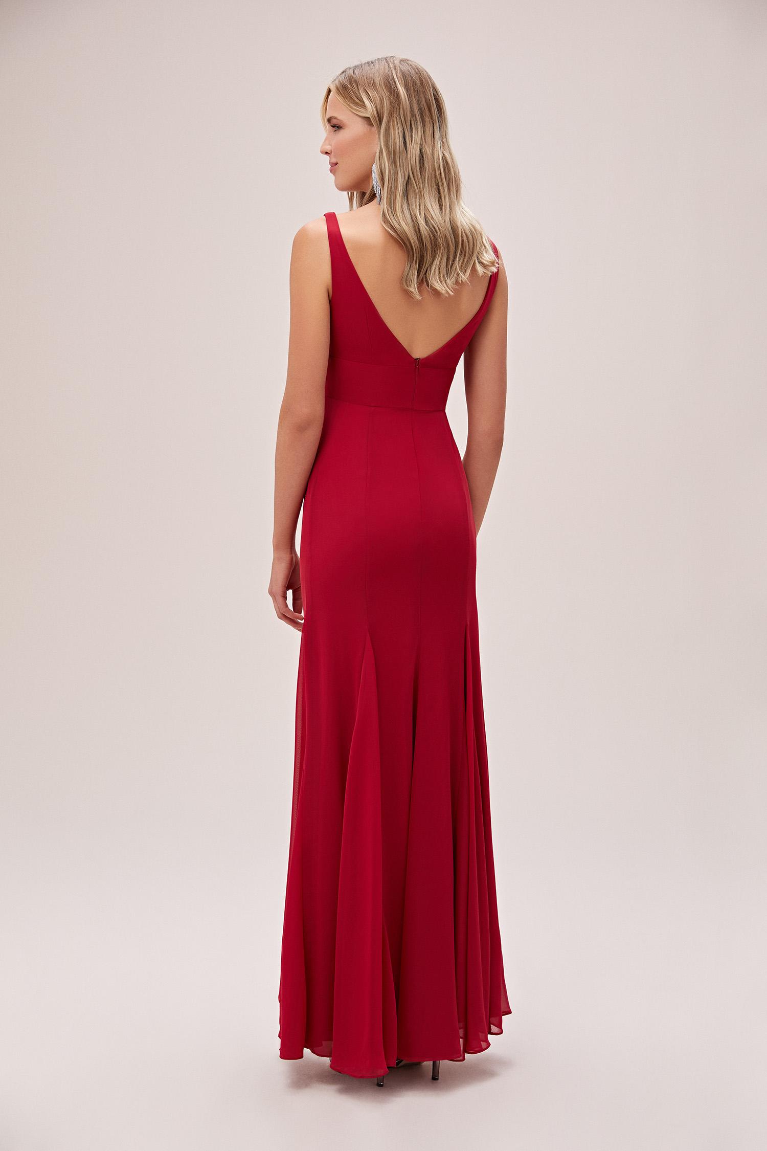 Kırmızı Askılı Pile Detaylı Şifon Uzun Abiye Elbise - Thumbnail