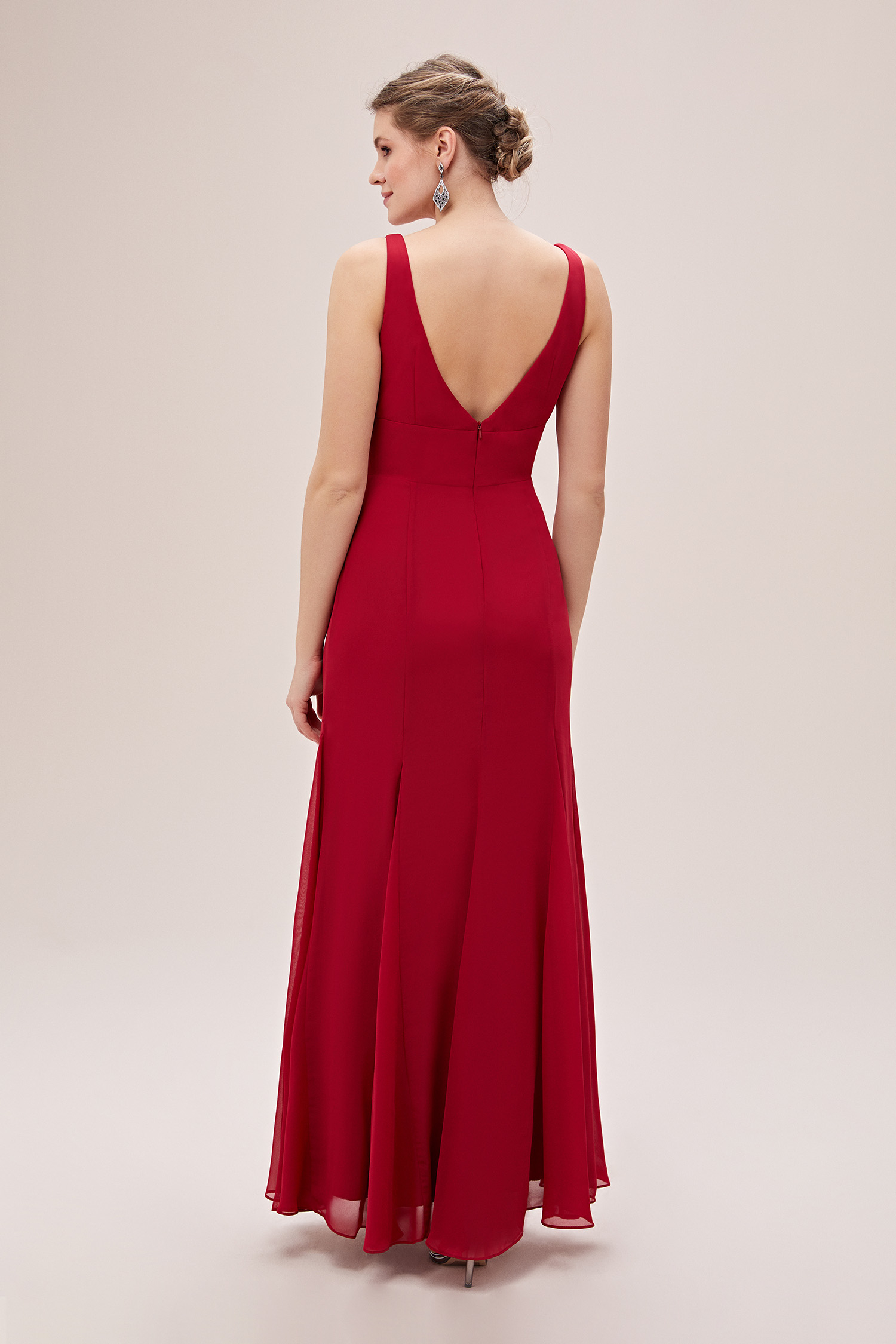 Kırmızı Askılı Pile Detaylı Şifon Uzun Büyük Beden Abiye Elbise - Thumbnail