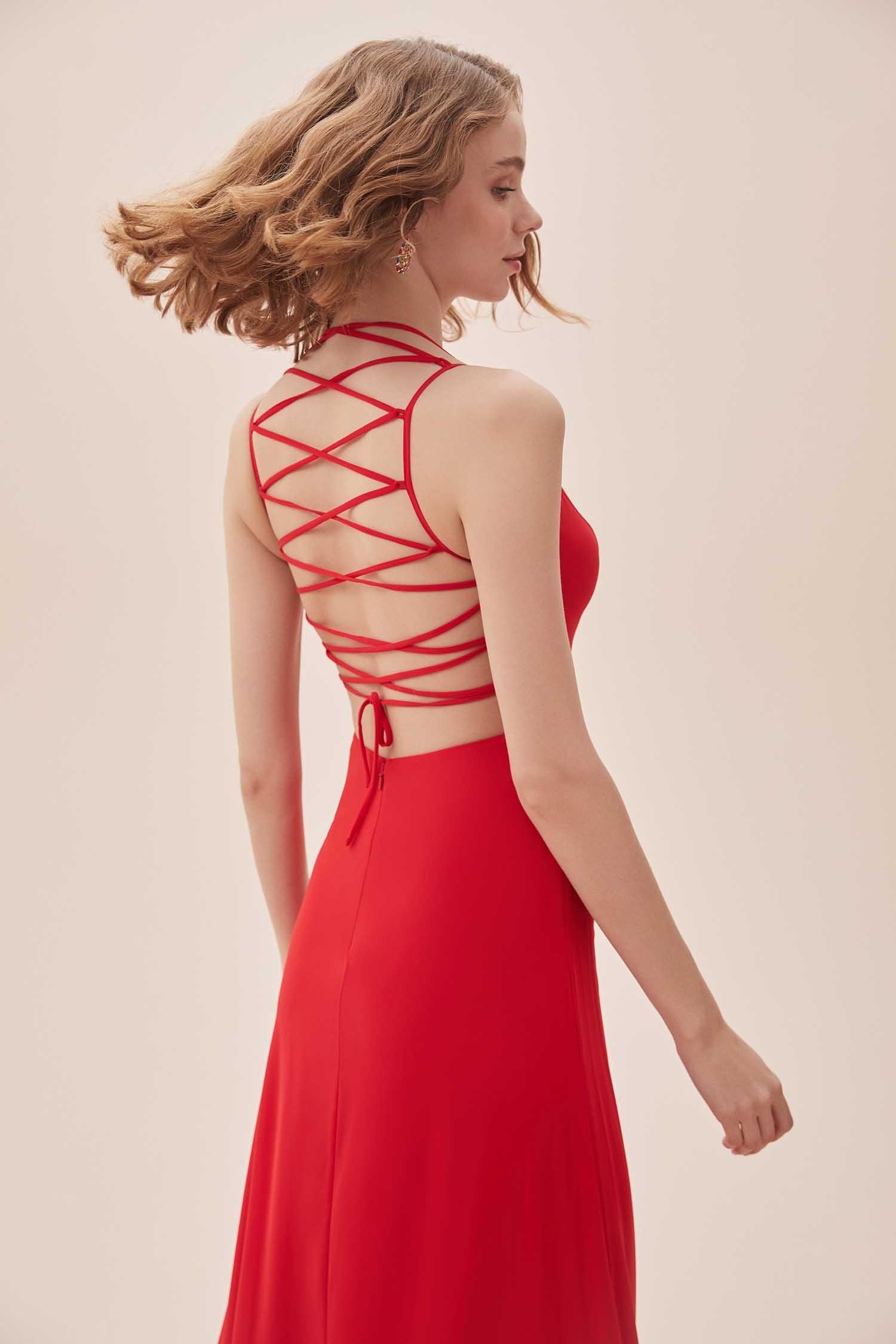 Kırmızı Askılı Sırtı Çapraz İpli Şifon Uzun Elbise - Thumbnail