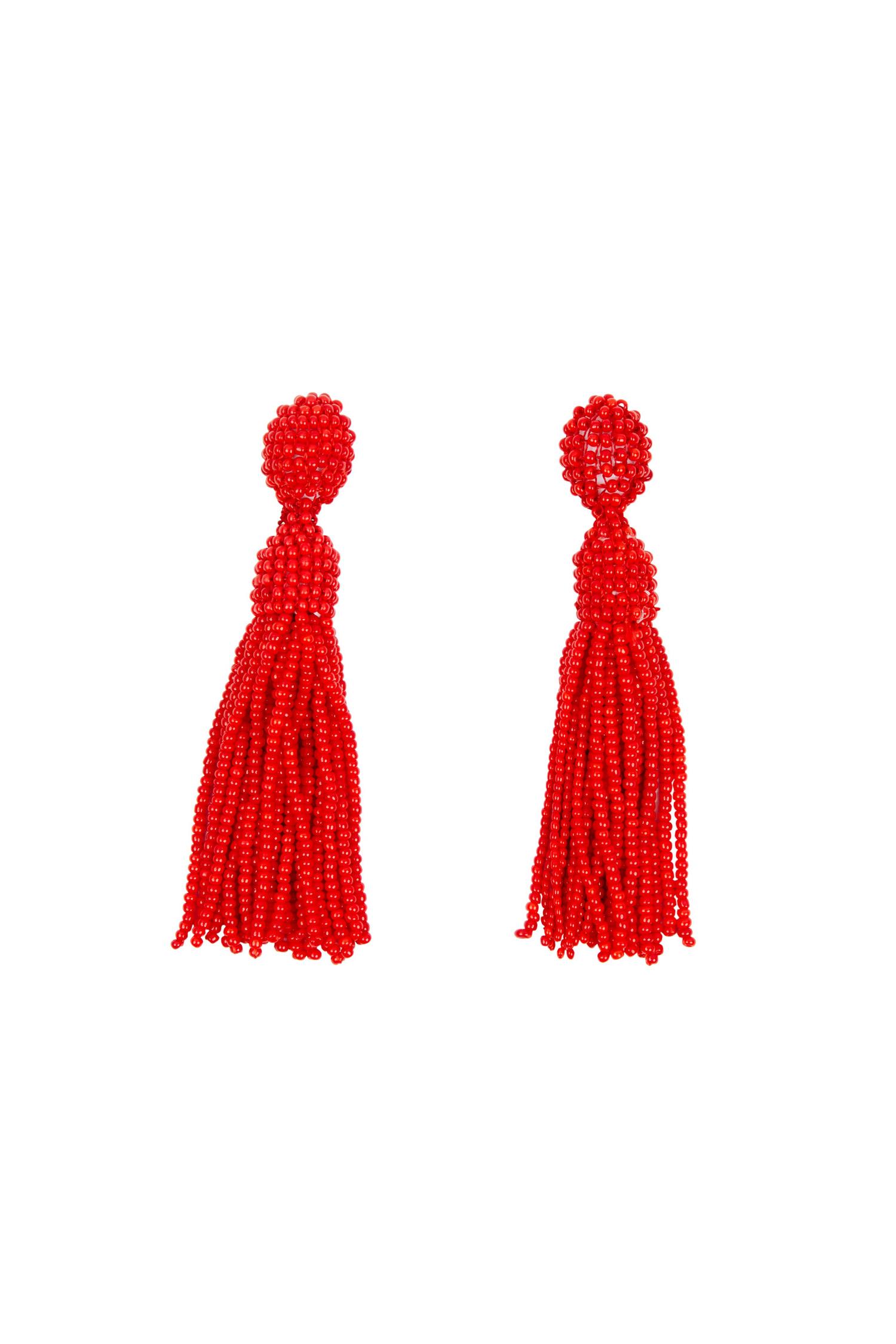 Kırmızı Boncuklu Uzun Küpe