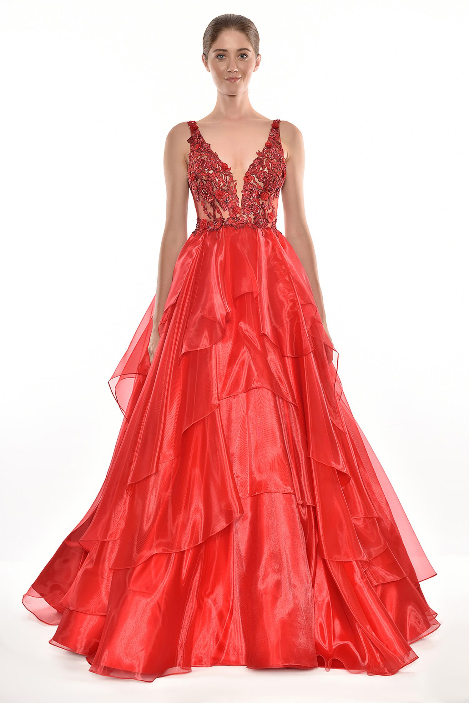 Alfa Beta - Kırmızı Dantel İşlemeli Askılı Kat Etekli Uzun Elbise