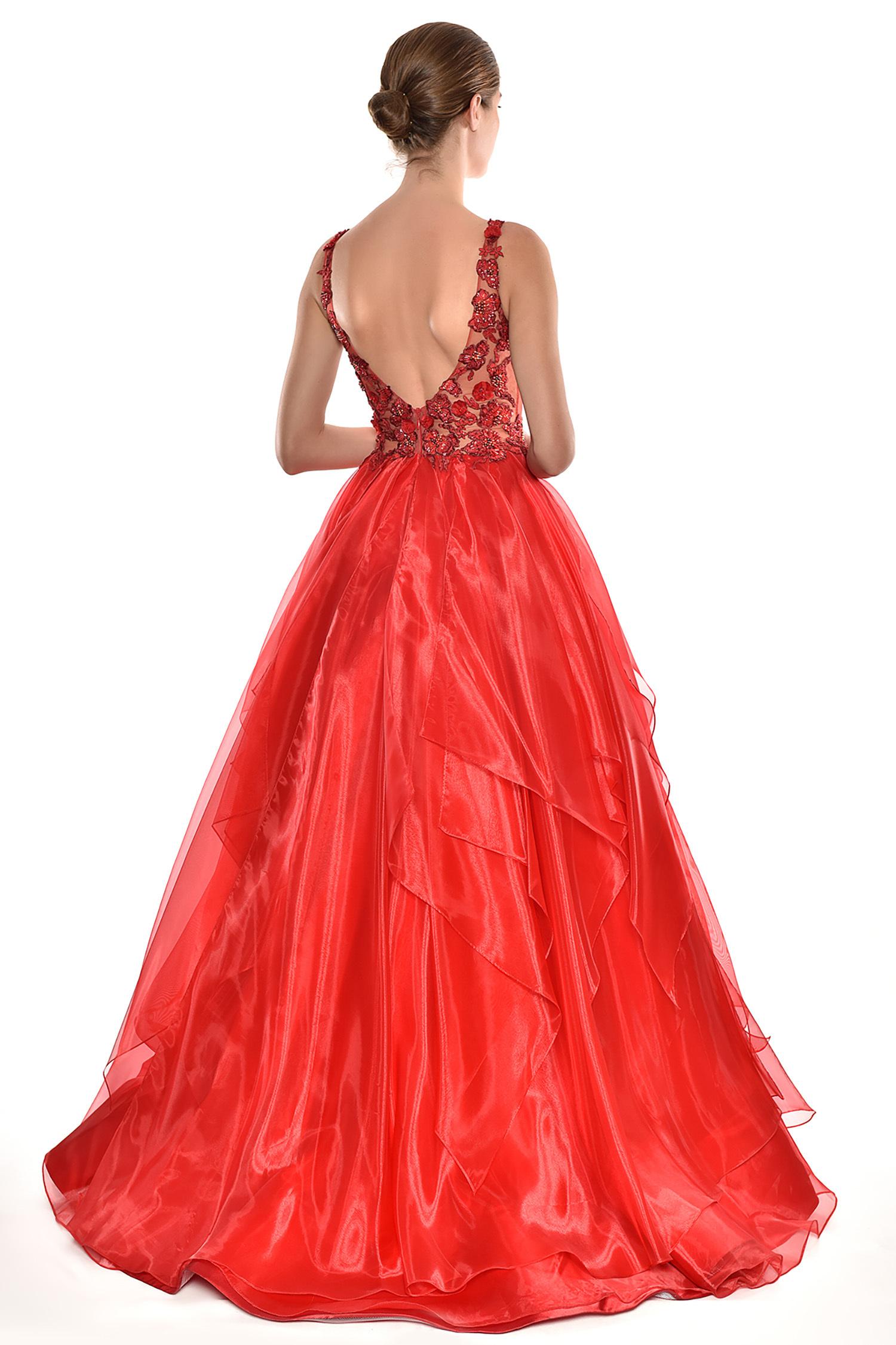 Alfa Beta - Kırmızı Dantel İşlemeli Askılı Kat Etekli Uzun Elbise (1)