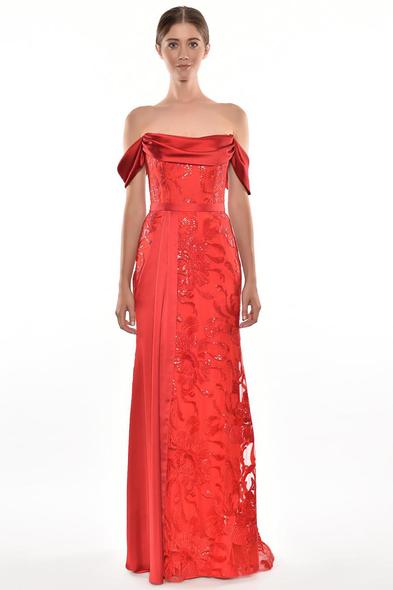 Alfa Beta - Kırmızı Düşük Omuzlu Dantel İşlemeli Abiye Elbise