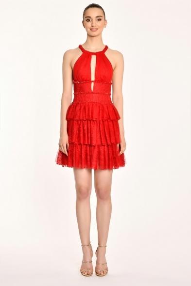 Alfa Beta - Kırmızı Halter Yaka Kat Kat Etekli Kısa Abiye Elbise