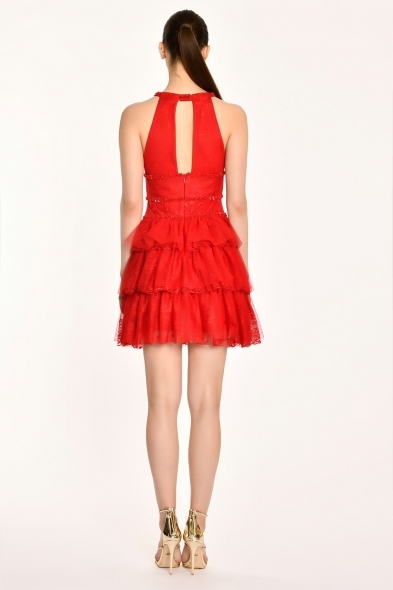 Alfa Beta - Kırmızı Halter Yaka Kat Kat Etekli Kısa Abiye Elbise (1)