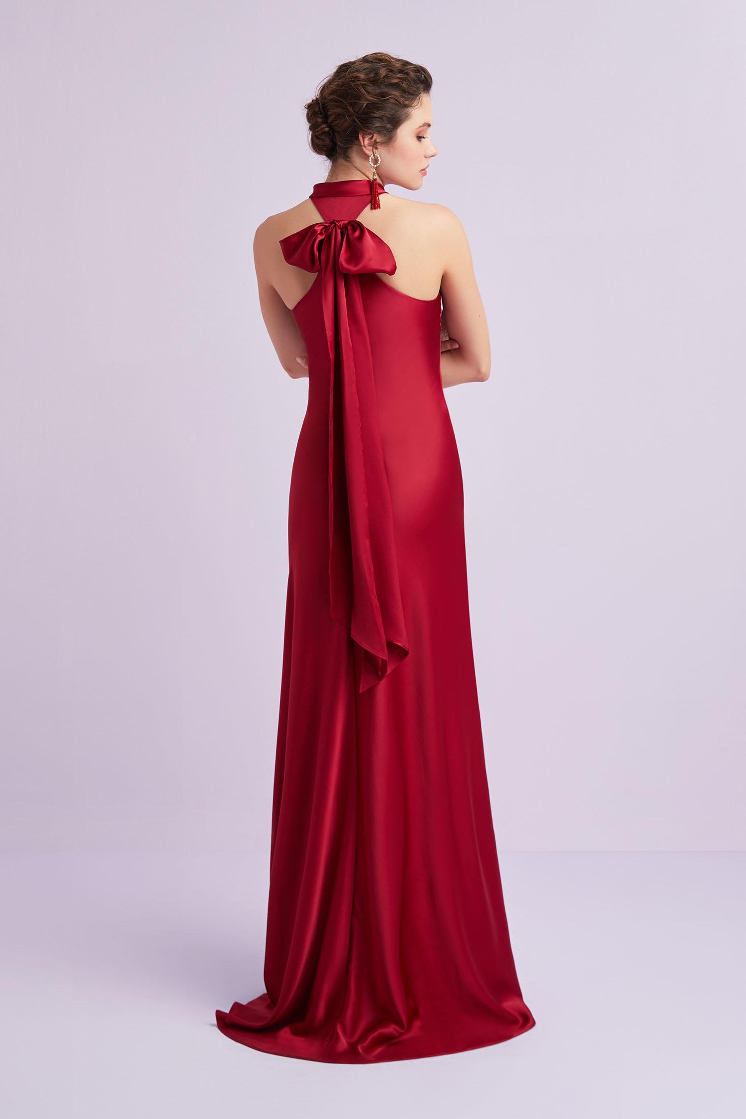 Kırmızı İnce Askılı Kruvaze Yaka Uzun Abiye Elbise - Thumbnail