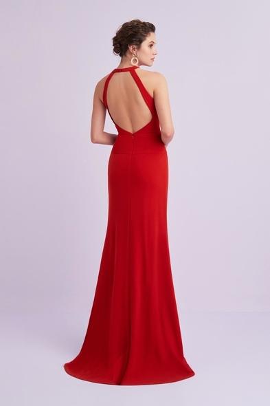 - Kırmızı Çapraz Yaka Sırt Dekolteli Krep Abiye Elbise - Oleg Cassini
