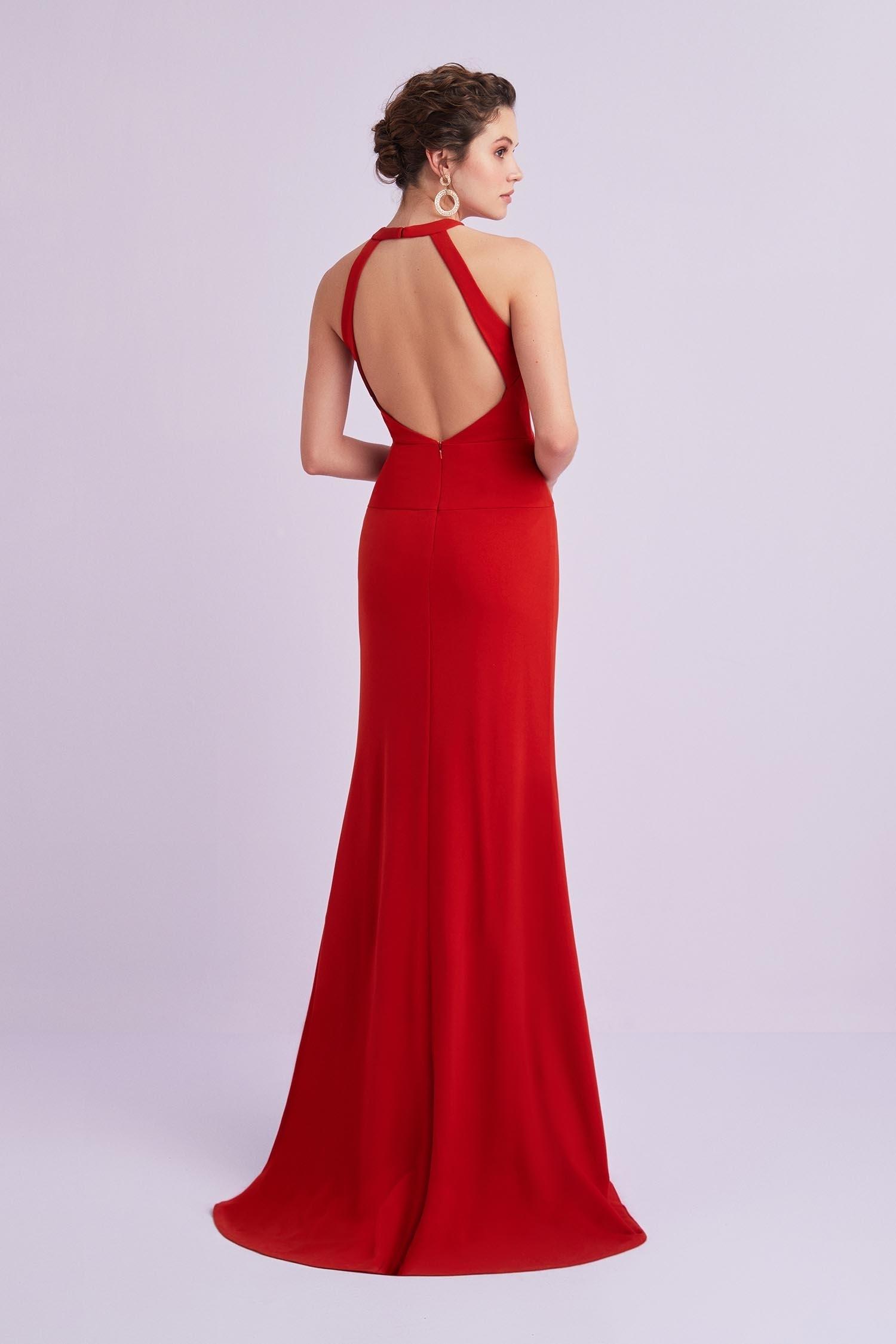 Kırmızı Çapraz Yaka Sırt Dekolteli Krep Abiye Elbise - Thumbnail