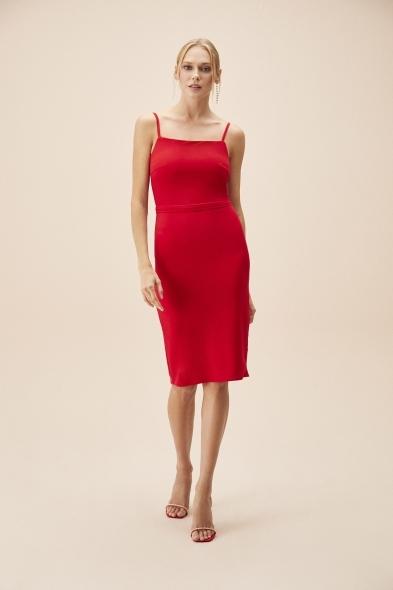 OLEG CASSINI TR - Kırmızı İnce Askılı Midi Boy Krep Elbise