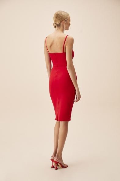 OLEG CASSINI TR - Kırmızı İnce Askılı Midi Boy Krep Elbise (1)