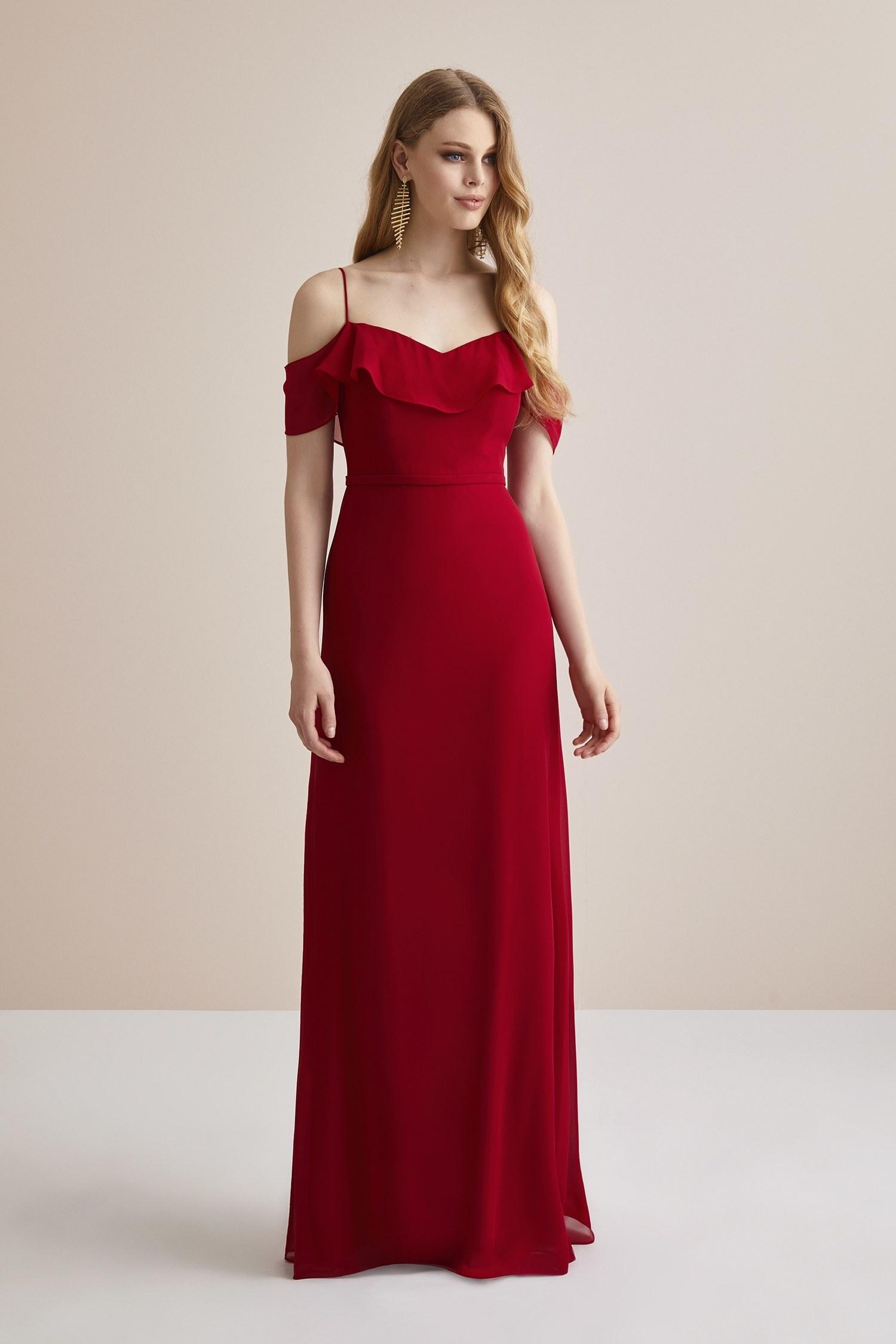 Kırmızı Şifon Kolları Tül Uzun Abiye Elbise